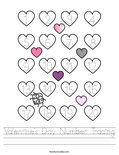 Valentine's Day Number Tracing Worksheet