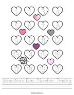 Valentine's Day Number Tracing Handwriting Sheet