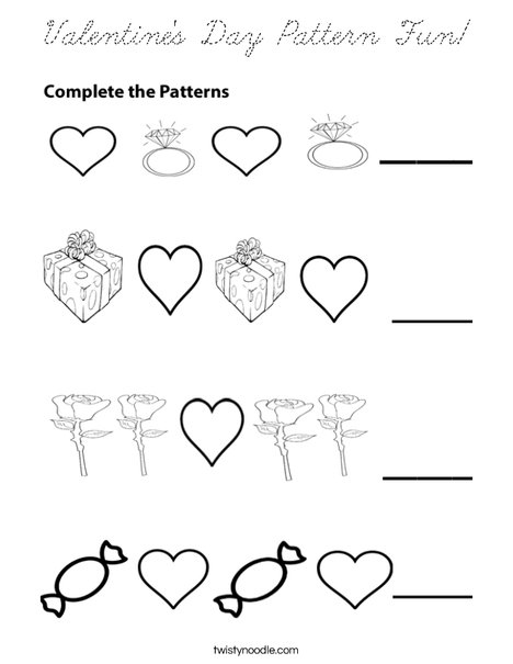 Valentine's Day Patterns Coloring Page