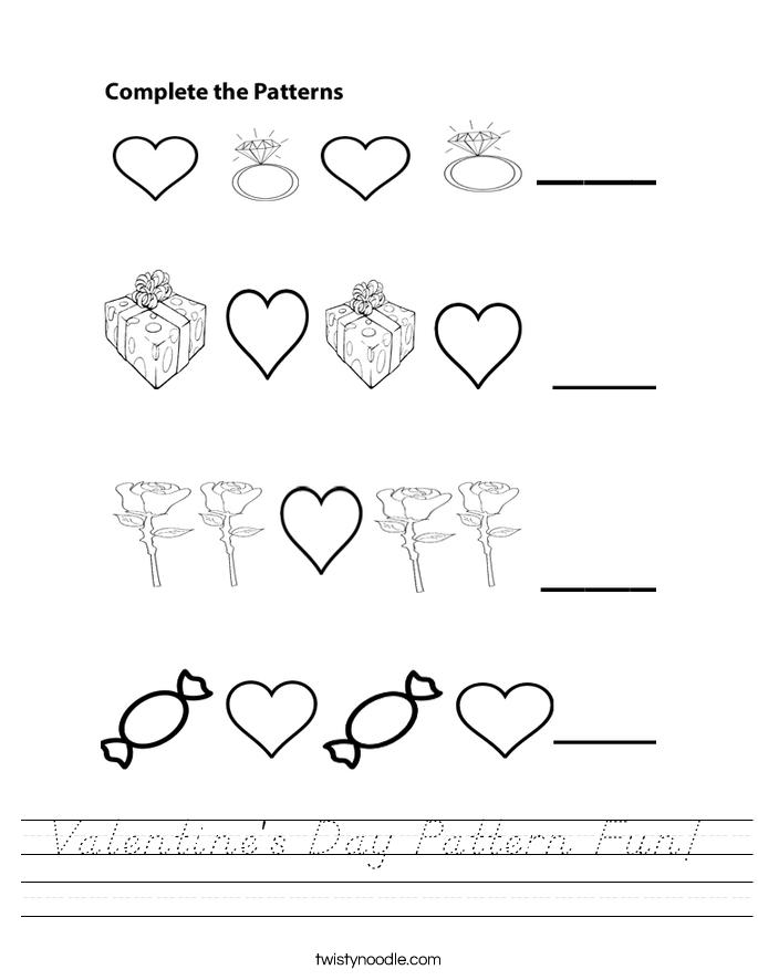 Valentine's Day Pattern Fun! Worksheet