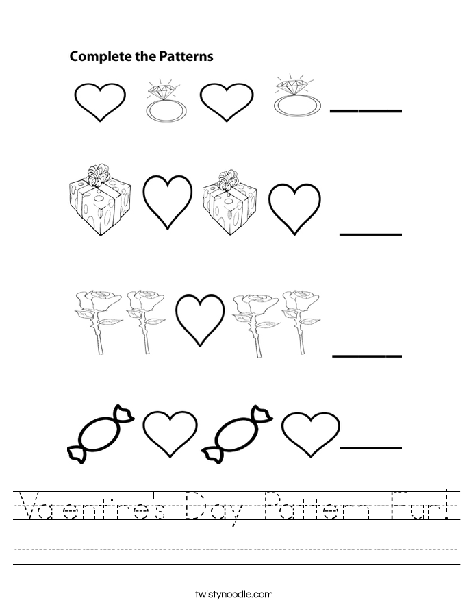 Valentine\'s Day Pattern Fun Worksheet - Twisty Noodle