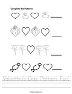 Valentine's Day Pattern Fun Handwriting Sheet
