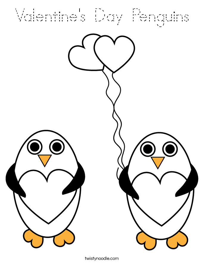 Valentine's Day Penguins Coloring Page - Tracing - Twisty ...