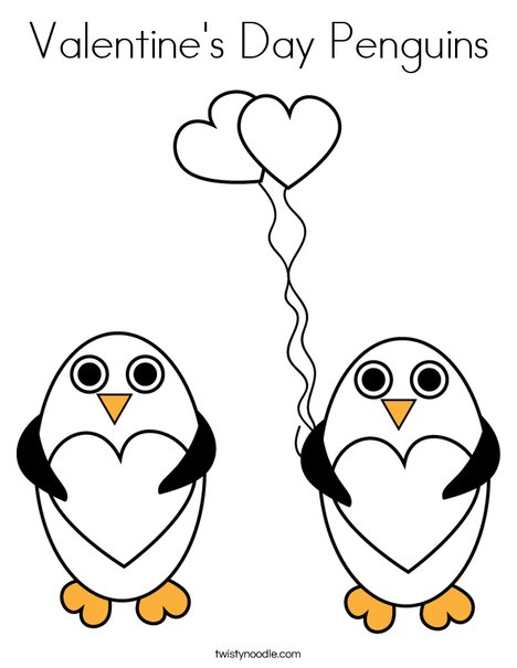 Valentine S Day Penguins Coloring Page Twisty Noodle