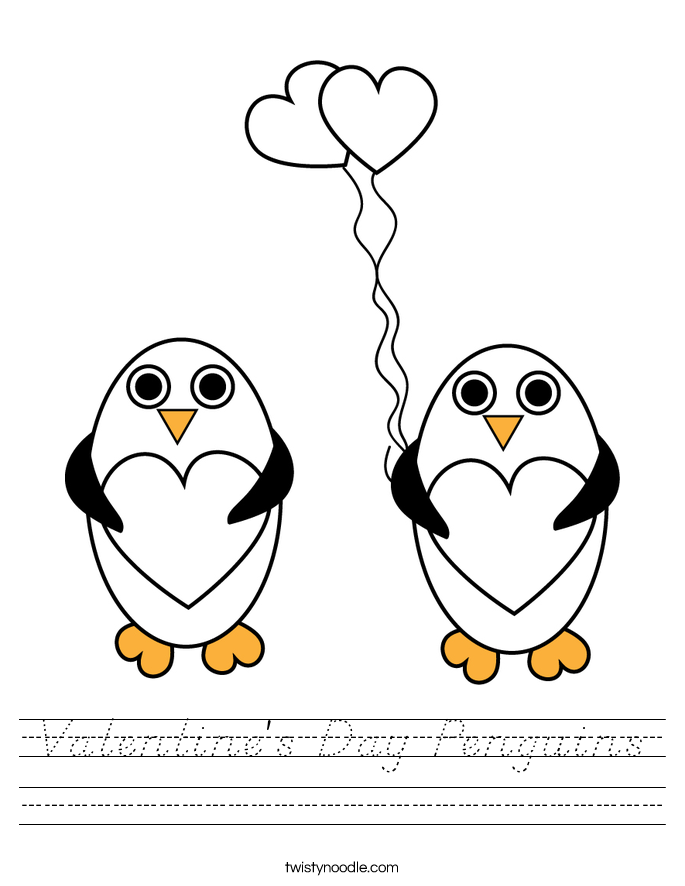 Valentine's Day Penguins Worksheet - D'Nealian - Twisty Noodle