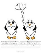 Valentine's Day Penguins Handwriting Sheet