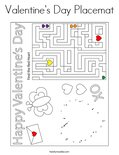 Valentine's Day Placemat Coloring Page