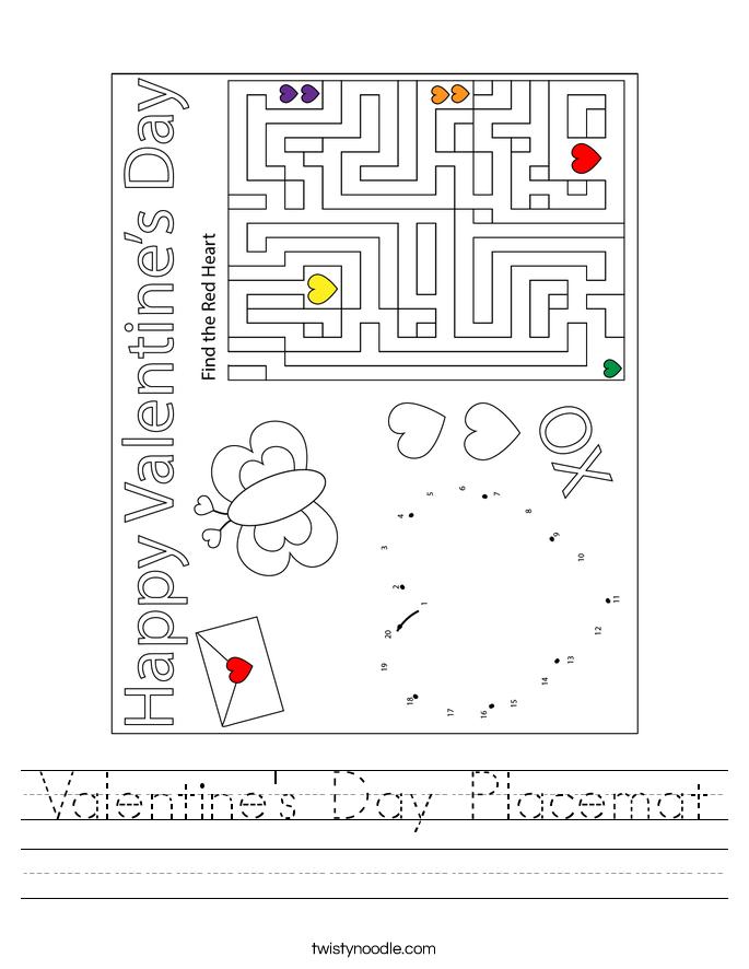 Valentine's Day Placemat Worksheet