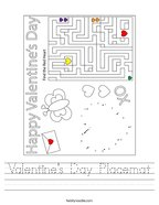 Valentine's Day Placemat Handwriting Sheet