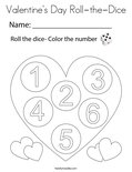 Valentine's Day Roll-the-Dice Coloring Page
