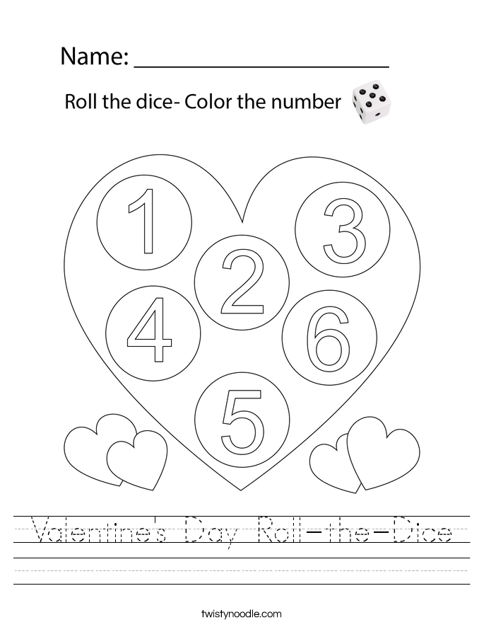 Valentine's Day Roll-the-Dice Worksheet