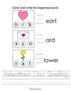 Valentine's Day Spelling Handwriting Sheet