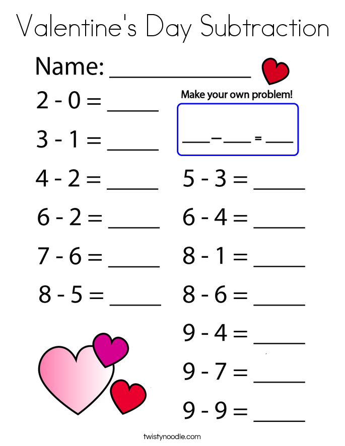 Valentine's Day Subtraction Coloring Page