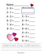Valentine's Day Subtraction Handwriting Sheet