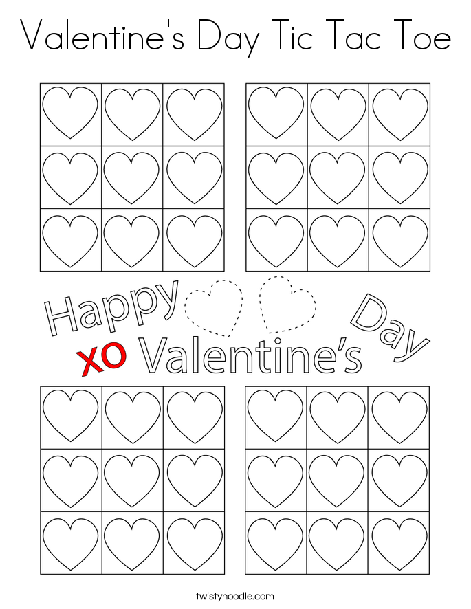 Valentine's Day Tic Tac Toe Coloring Page