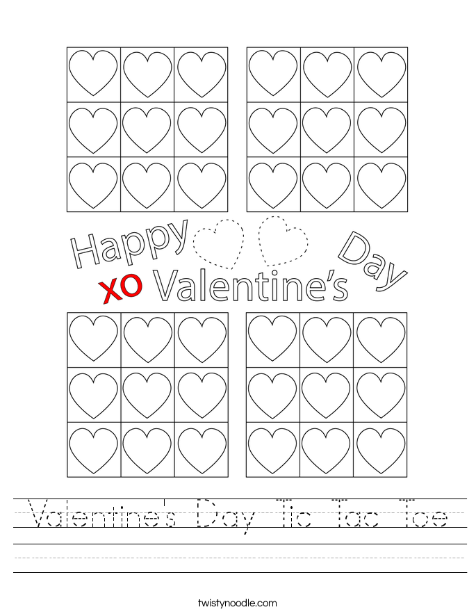 Valentine's Day Tic Tac Toe Worksheet