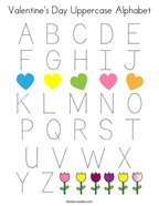 Valentine's Day Uppercase Alphabet Coloring Page