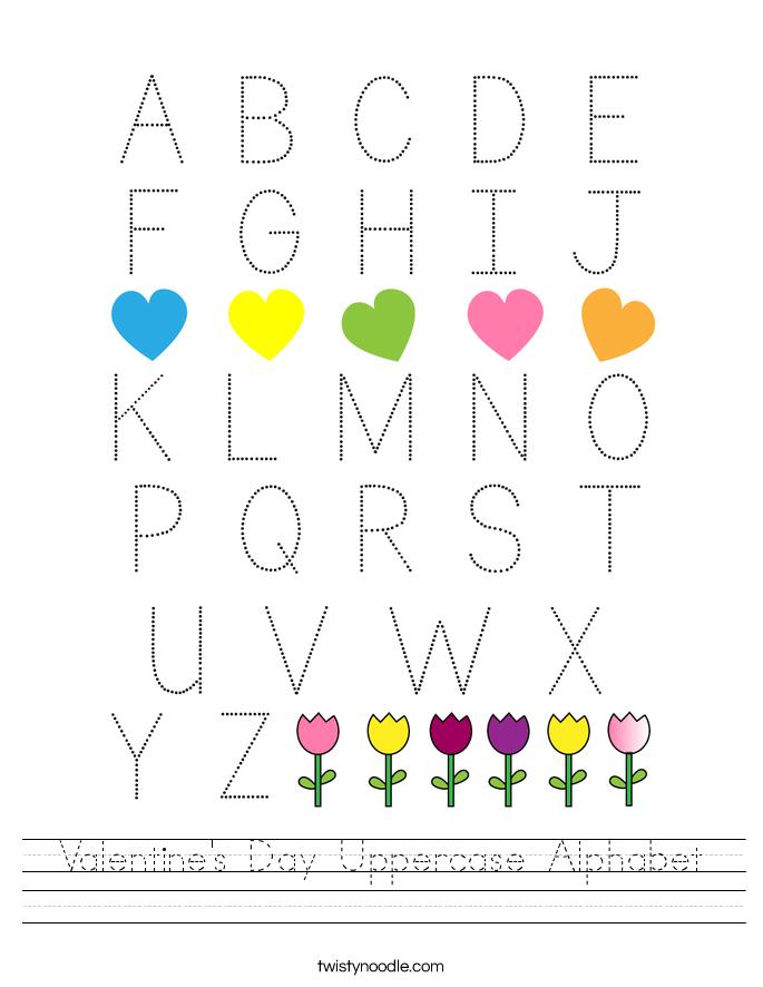 Valentine's Day Uppercase Alphabet Worksheet