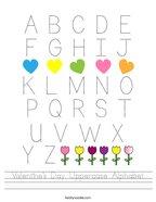 Valentine's Day Uppercase Alphabet Handwriting Sheet