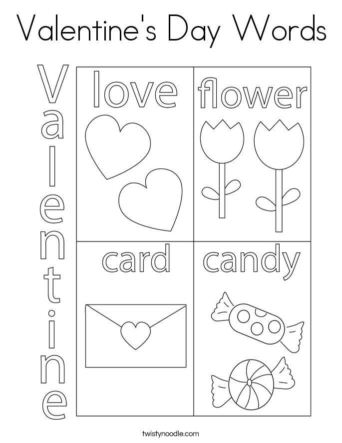 Valentine's Day Words Coloring Page - Twisty Noodle