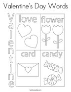 Valentine's Day Words Coloring Page