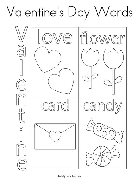 Valentine S Day Words Coloring Page Twisty Noodle