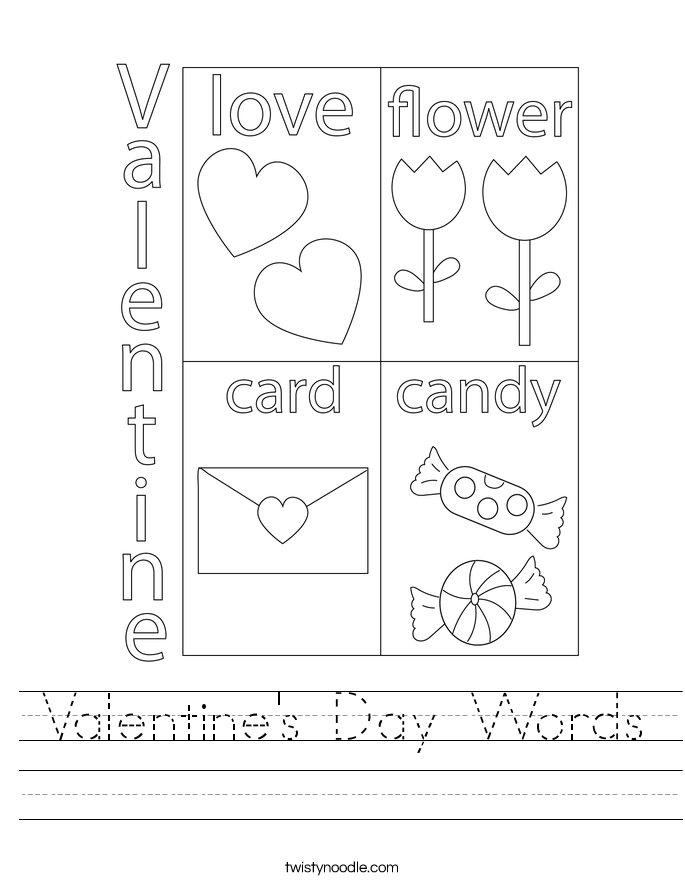 Valentine's Day Words Worksheet
