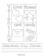 Valentine's Day Words Handwriting Sheet