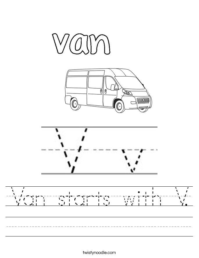Van starts with V. Worksheet