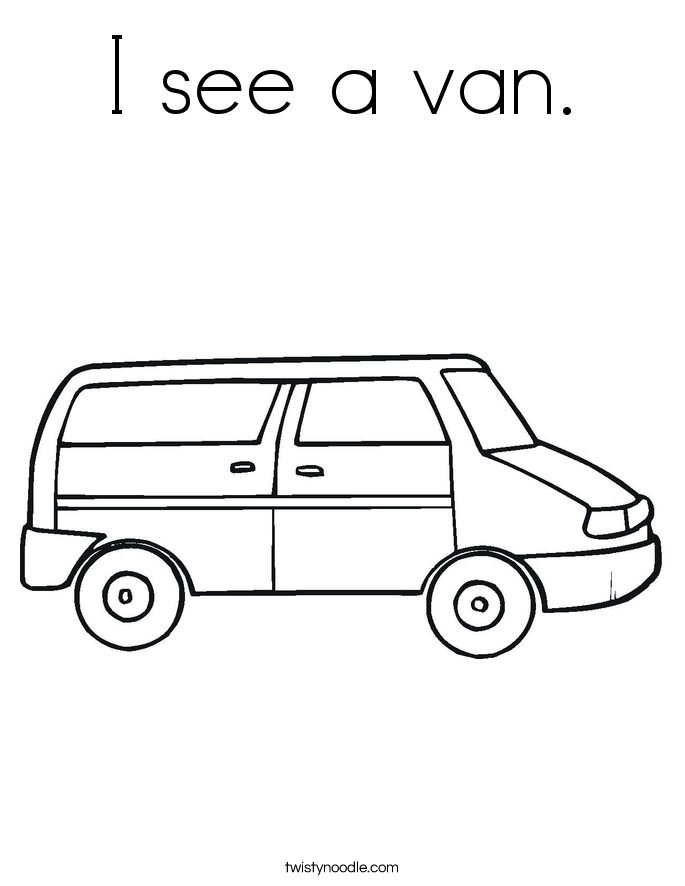 I see a van. Coloring Page