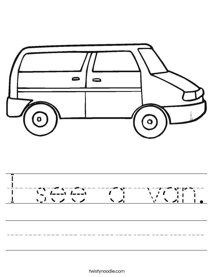 I see a van. Worksheet