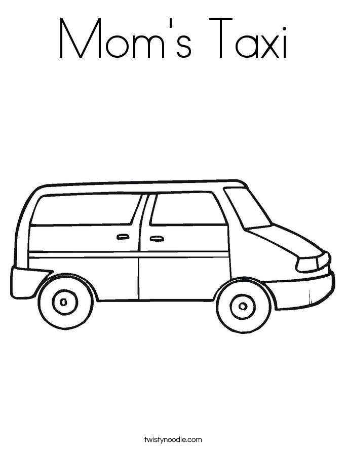 Mom's Taxi Coloring Page