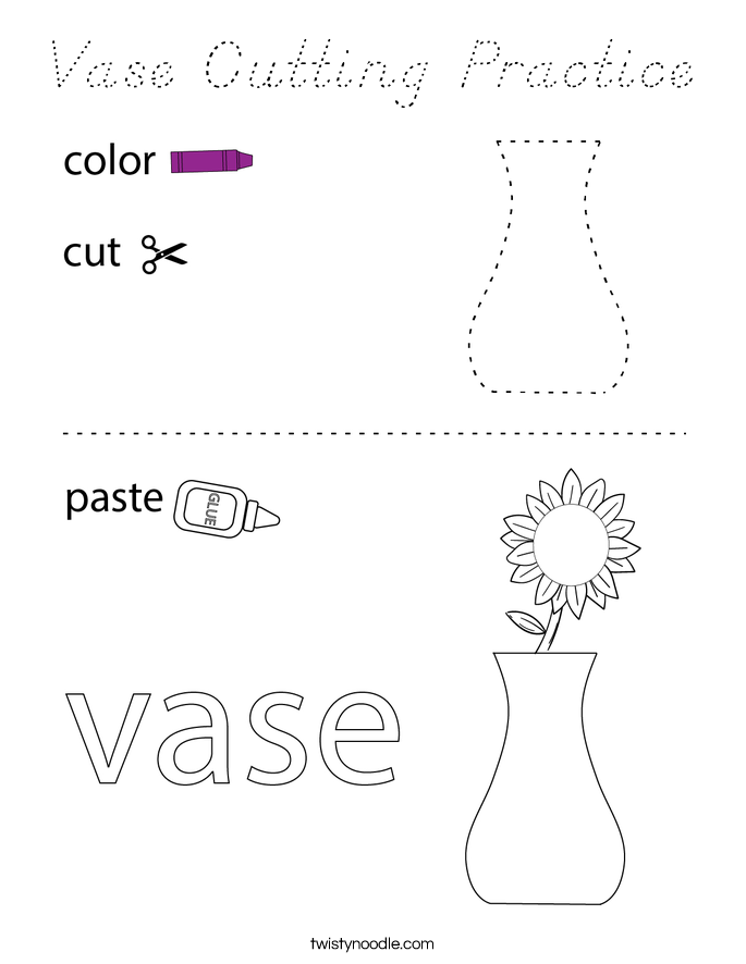 Vase Cutting Practice Coloring Page