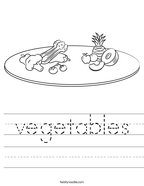 vegetables Handwriting Sheet