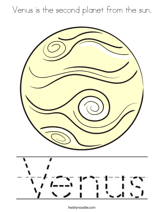 Venus is the second planet from the sun. Coloring Page