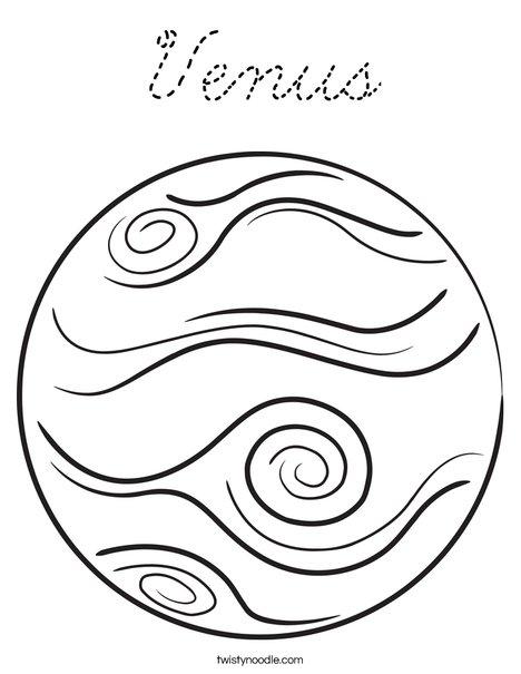Venus Coloring Page - Cursive - Twisty Noodle