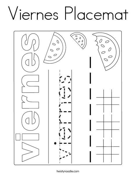 Viernes Placemat Coloring Page