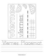 Viernes Placemat Handwriting Sheet