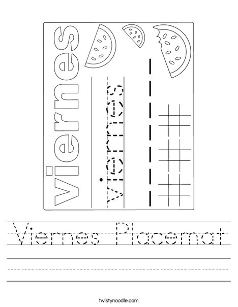 Viernes Placemat Worksheet