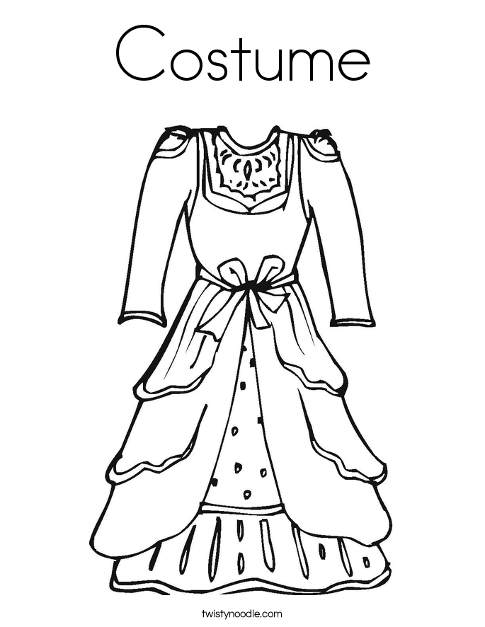 Costume coloring page twisty noodle for Coloring pages of dresses
