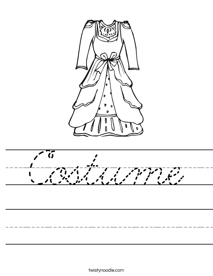 Costume Worksheet