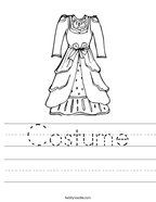 Costume Handwriting Sheet
