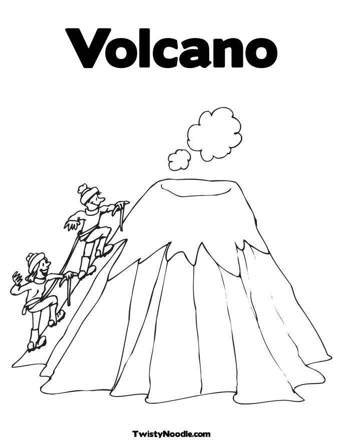 v is for volcano coloring page - letter v volcano coloring pages