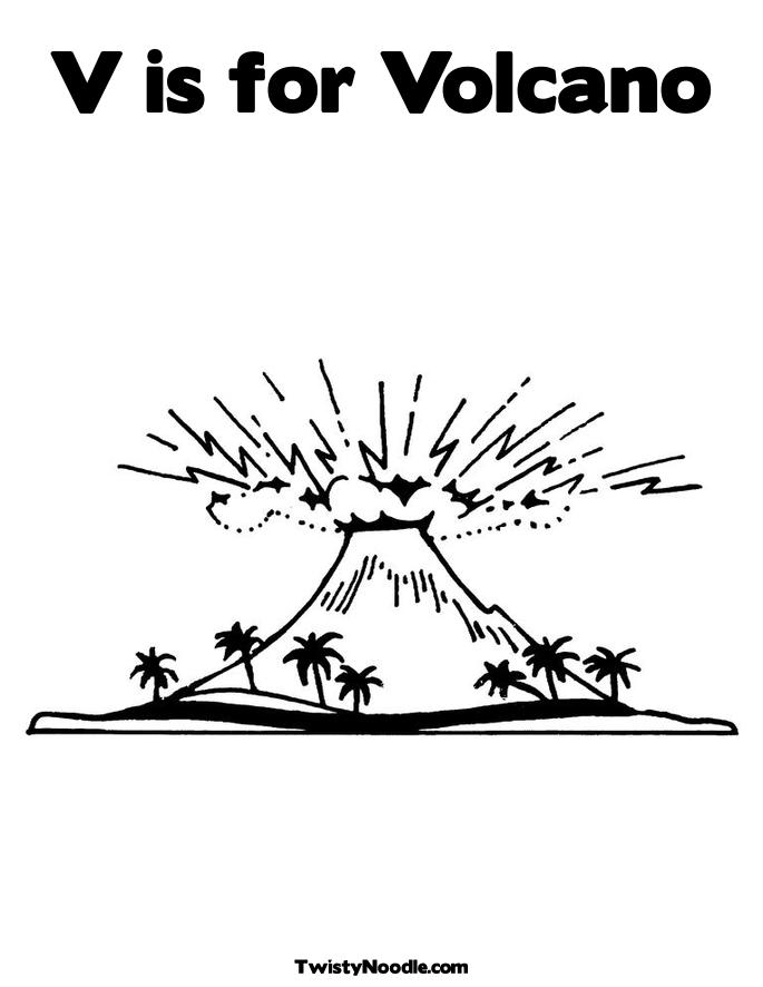 V Is For Volcano Clipart Volcano Parts Coloring...