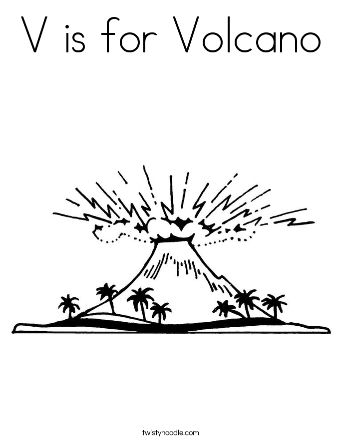 v is for volcano coloring pages - photo #1