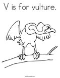 V is for vulture. Coloring Page