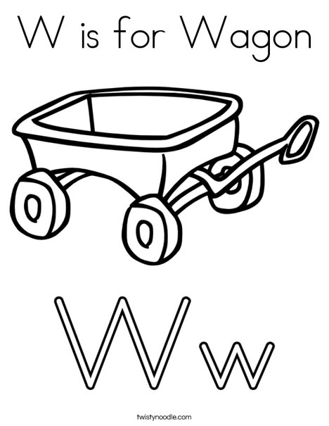 W is for Wagon Coloring Page - Twisty Noodle