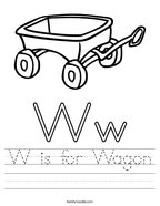 W is for Wagon Handwriting Sheet