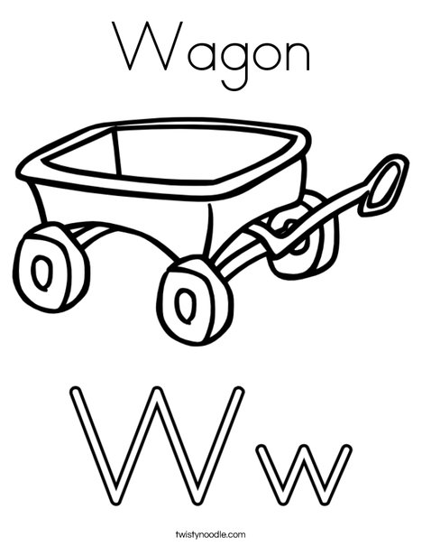 W is for Wagon Coloring Page
