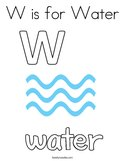 W is for Water Coloring Page